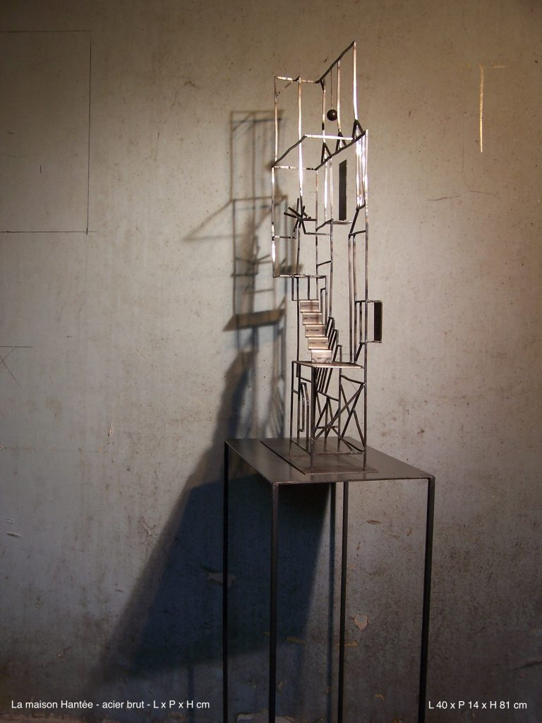 Villa Rio - acier brut - L 40 cm x P 14 x H 81 cm