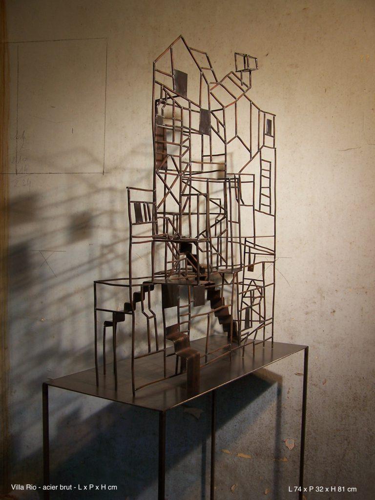 Villa Rio - acier brut - L 14 cm x P 32 x H 81 cm